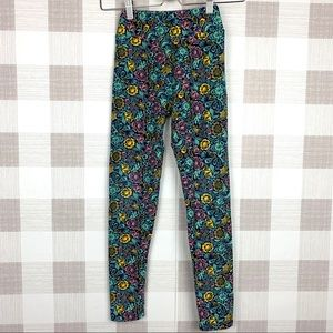 Lularoe Juniors Floral Leggings Sz Tween Turquoise